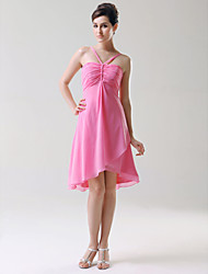 Lanting Bride® Knee-length Chiffon Bridesmaid Dress - A-line / Princess Spaghetti Straps Plus Size / Petite with Ruching