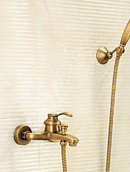 Antique Tub And Shower Handshower Included with  Brass Valve Single Handle Two Holes for  Antique Brass , Shower Faucet