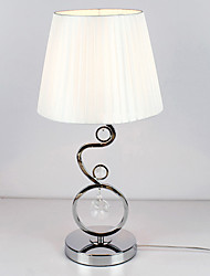 Contemporary Table Light with Elegant Fabric Shade Crystal Decor White Pleated Style 220-240V