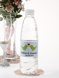 Personalized Water Bottle Sticker - Kissing Birds (Green/Set of 15)