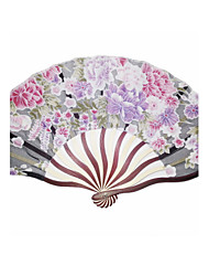 Beautiful Wood And Silk Hand Fan - Set of 4(Mixed Colors)