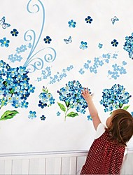 Blue Flower Butterfly Wall Sticker