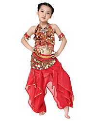Dancewear Chiffon Belly Dance Outfits Top and Belt and Bottom For Children