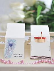 decoração do casamento matchbooks personalizados - pena de pavão (conjunto de 50)