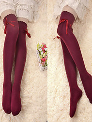 Wine Red Ribbon Cotton Classic Lolita Over Kniestrümpfe