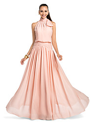 Formal Evening/Prom/Military Ball/Wedding Party Dress - Pearl Pink Plus Sizes Sheath/Column High Neck Floor-length Chiffon