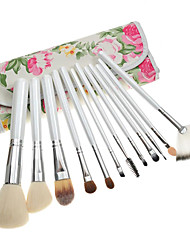 12PCS White Handle Makeup Brush Kits With Peony Flower Pouch