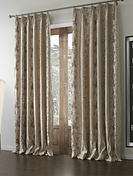 (Two Panels) Floral Country Jacquard Lined Curtain