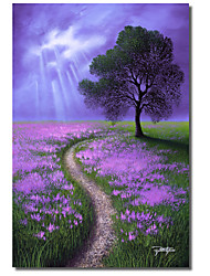 Printed Canvas Art Pathway To the Oak by Jon Rattenbury with Strethed Frame