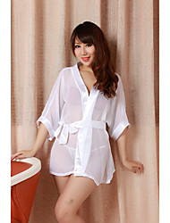 Women's White 3/4 Sleeved Perspective Robe