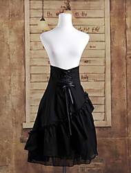 Knee-length Black Cotton Ruffles Gothic Lolita Skirt