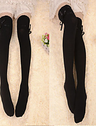 Black Ribbon Cotton Classic Lolita Over Knee Socks