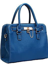 AIDELA OL Dark Blue PU Leather Lock Tote
