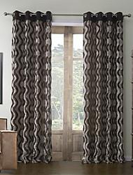 (Dois painéis) rococó poliéster algodão corrugation relevo cortina de poupança de energia