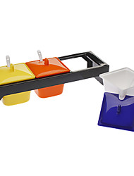 Colorful 3 Canister Tempero Pot com colheres Definir