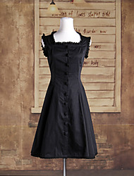 Sleeveless Knee-length Black Cotton Classic Lolita Buttoned Dress