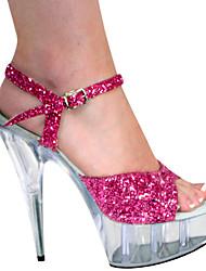 Sandals Fushica brillante brillo 4.5cm Plataforma 14.5cm del talón de estilete de las mujeres