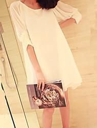 De las mujeres Vestido Casual Un Color Mini Escote Redondo Raso