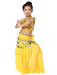 Dancewear Chiffon with Coins Belly Dance Outfit Top and Belt and Skirt For Children More Colors