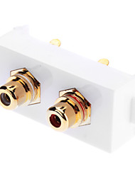 Two RCA Component Two-Piece Inset Wall Plate - Welding Module (Gold Plated)