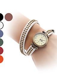 Женские Модные часы Часы-браслет Японский кварц Кварцевый Группа Винтаж КольцеобразныйЧерный Белый Синий Красный Оранжевый Коричневый