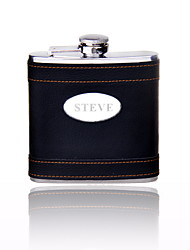 Gift Groomsman Personalized Black 6-oz Flask