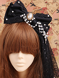 Lolita Jewelry Gothic Lolita Headwear Princess / Victorian Black Lolita Accessories Headpiece Bowknot For Men / Women Cotton / Organza
