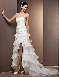 Lanting Bride Sheath/Column Petite / Plus Sizes Wedding Dress-Court Train Sweetheart Organza / Taffeta
