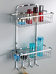 Solid Stainless Steel Double-deck Toilet Glass Shelf with 4 Hooks