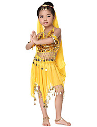 Dancewear Chiffon with Coins Belly Dance Outfits Top and Scarf and Skirt For Children More Color