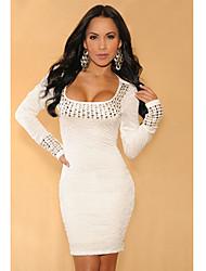 Weiß Plissee Beschlagene Long Sleeves Kleid (Hip :90-104cm Länge: 105cm)