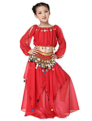 Dancewear Chiffon with Coins Belly Dance Outfits Top and Belt and Skirts For Children More Colors