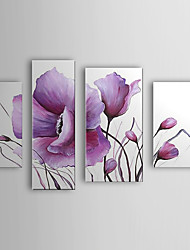 Hand Painted Oil Painting Floral Modern Flowers Set of 4 with Stretched Frame 1307-FL0162