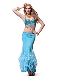 Performance Dancewear Crystal Cotton with Sequins Belly Dance Outfits Top and Skirt More Color For Ladies