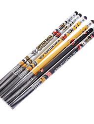 6 Pack Cartoon-Muster aus Holz Bleistift