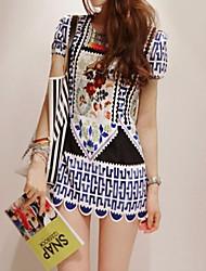 Women's Ethnic Print Mini Dress (Slim Fit)