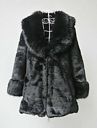 Long Sleeve Shawl Faux Fur Casual/Party Coat(More Colors)