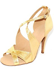Customizable Women's Dance Shoes Latin/Ballroom Leatherette Customized Heel Gold