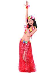 Desempenho Nylon Dancewear Bonita Com Flores Belly Outfits Dança para Crianças (mais cores)