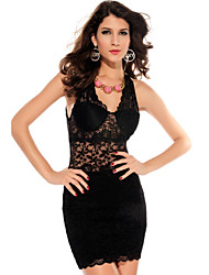 Women's Halter Lace Mini Dress Black Bodycon/Party/Sexy/Lace
