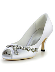Pretty Satin Stiletto Heel Peep Toe Pumps with Rhinestone Wedding Shoes(More Colors)