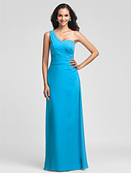 Lanting Floor-length Chiffon Bridesmaid Dress - Pool Plus Sizes / Petite Sheath/Column One Shoulder