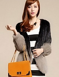 Long Sleeve Collarless Mink Fur Casual/Party Jacket (More Colors)