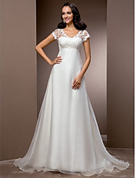 Lan Ting A-line/Princess Plus Sizes Wedding Dress - Ivory Court Train V-neck Organza/Lace