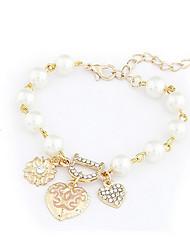 """Alliage Pearl """"D"""" Bracelet Pendentif Coeur d'or"""