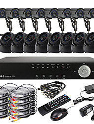 Ultra 16CH D1 em tempo real H.264 CCTV DVR Kit (16 420TVL Outdoor e Indoor Night Vision Câmeras CMOS)