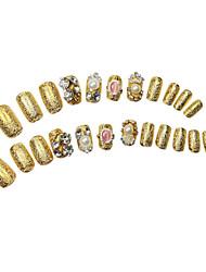 24pcs de Ouro Glitter Poder Rhinestone Crown enchido longo prego Dicas com cola
