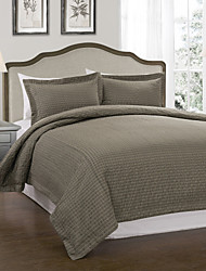 3-teilige moderne Check festen Leinen Bettbezug Set