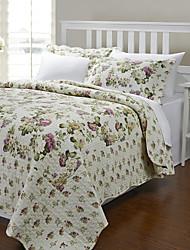 3PCS 100% algodão Allover Flor Set Quilt