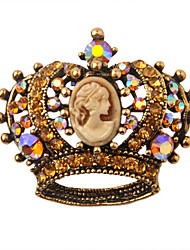 Gold Plated Alloy Zircon Royal Crown Pattern Brooch
